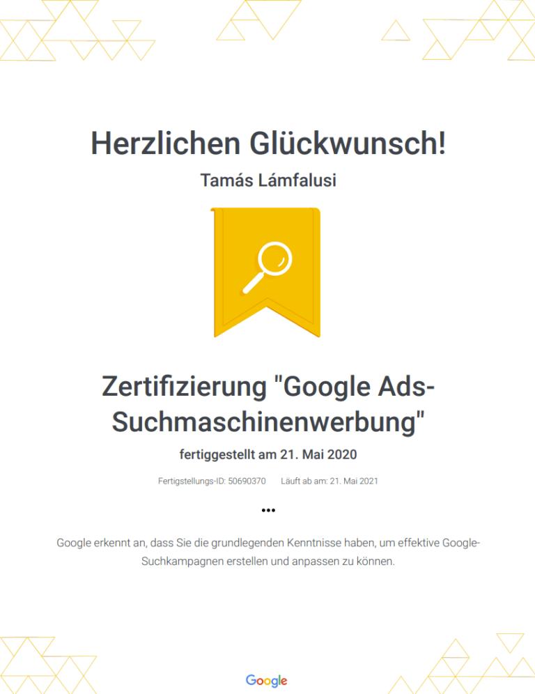 Zertifikat über Google Ads Suchanzeigen