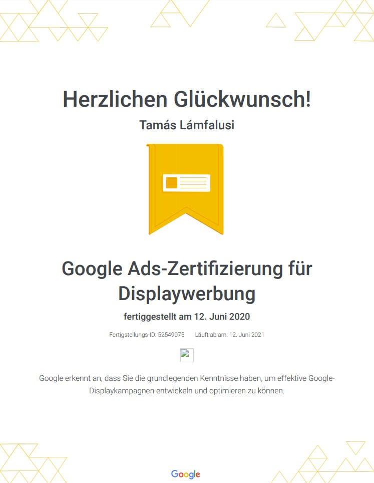 Zertifikat über Google Ads Displaywerbung Fähigkeiten