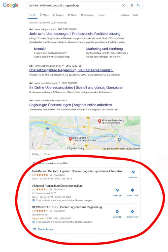 Local SEO - lokale Sucherbegnisse